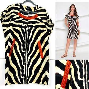 Etcetera Zebra Print Cotton Shift Dress Sz 12